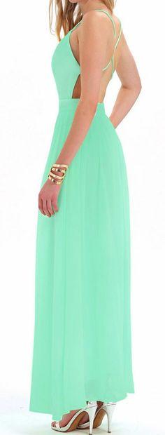 Mint Backless Maxi Dress ♥ #bridesmaid #wedding #dress