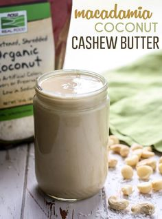 A to-die-for combination of nuts in this batch of Macadamia Coconut Cashew Butter that takes less than 10 minutes in your food processor. No sugar added, vegan and paleo-friendly! Kitchen Recipes, Raw Food Recipes, Snack Recipes, Delicious Recipes, Healthy Recipes, Vegan Food, Cashew Recipes, Alkaline Recipes, Ninja Recipes
