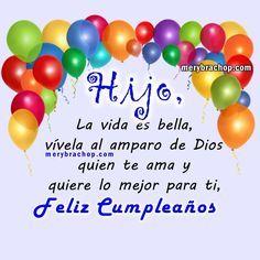 Birthday Cards For Son, Happy Birthday Son, Happy Birthday Celebration, Birthday Greetings, Spanish Birthday Wishes, Birthday Wishes Messages, Happy Birthday Christian Quotes, Happy Birthday Quotes, Happy New Year Wishes