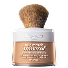True Match Naturale Mineral Foundation face makeup. Mineral powder foundation makeup with SPF sunscreen & foundation brush for even coverage & tone.