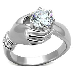 """Save additional 30% by using coupon code """"PINTEREST"""". Free shipping with a purchase of $15.00 or more.  Hope Chest Jewelry - 1230-SKU WOMEN'S STAINLESS STEEL HAND HOLDING 1.25 CARAT CZ ENGAGEMENT RING, $14.49 (http://www.hopechestjewelry.com/1230-sku-womens-stainless-steel-hand-holding-1-25-carat-cz-engagement-ring/)"""