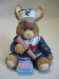 Resin Figurine Sailor Boy Brown Rabbit Telescope Books Sailor Suit