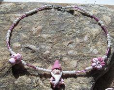 Handmade Girls Pink Gnome Polymer Bead Necklace