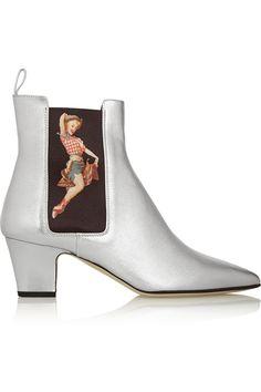 Rupert Sanderson|Frances printed metallic leather ankle boots|NET-A-PORTER.COM