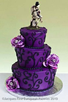 Purple skeleton cake