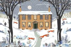 Amanda White   Bronte sisters print - Haworth Parsonage - Writers Houses - naive art - paper collage - running foxes - snow - primitive house - full moon