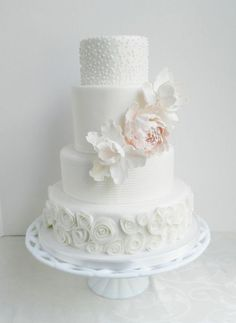 White detailed wedding cake: http://www.stylemepretty.com/little-black-book-blog/2013/02/13/floral-wedding-cake-round-up/