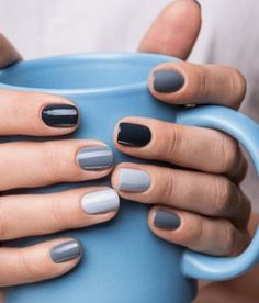 In look for some nail designs and ideas for your nails? Listed here is our listing of must-try coffin acrylic nails for modern women. Gradient Nails, Cute Acrylic Nails, Cute Nails, Pretty Nails, My Nails, Grey Gel Nails, Gray Nail Art, Simple Gel Nails, Black White Nails