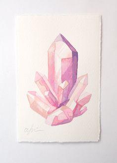 Rosa Quarz-Cluster - Original Aquarell