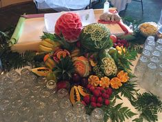 #wedding #fruit #buffet #bride #groom #mothers #day #carving Fruit Buffet, Bride Groom, Lush, Bouquets, Mothers, Special Occasion, Backdrops, Centerpieces, Reception