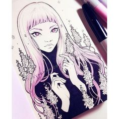 【ladowska】さんのInstagramをピンしています。 《Day 1 ー #lavender  I already know I can't keep up with inctober, but I'll try anyway! Using @relseiy's themes 😊 #relseethis  I added some items to my shop at ladowska.storenvy.com and I will not add anything new in a while. Make sure to check it out! 😊 Thanks  #sketcheveryday #sketch #inktober #inktober2016 #sketchbook #pen #unipin #copic #copicmarkers #traditionalart #cute #sweet #girl #animegirl #anime #manga #mangagirl #illustration #flowers…