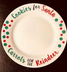 Cookies for Santa Carrots for the Reindeer Cookie Plate Christmas Plate Santa Plate Christmas E Christmas Cookies Kids, Its Christmas Eve, Christmas Vinyl, Christmas Plates, Christmas Holidays, Christmas Crafts, Reindeer Christmas, Christmas Deco, Cookies For Santa Plate