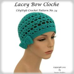 Crochet Pattern - Crochet Hat Pattern PDF for the Lacey Bow Cloche