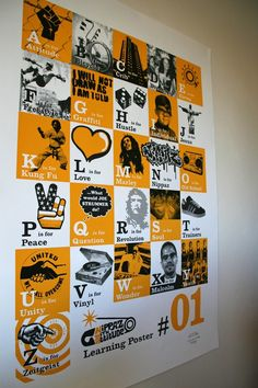Hip Hop Alphabet Poster Yellow and Black by NippazWithAttitude