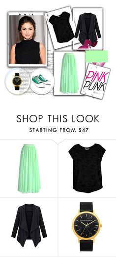 """mint"" by ayshagulzar ❤ liked on Polyvore featuring OUTRAGE, Chicwish, Bobeau and Converse"