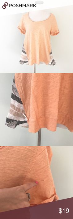 "Anthropologie Little yellow button Peach Top Peach top with striped back. Drawstring at bottom. Raw hem around neckline. Small mark in left sleeve (see photo of close up). Chest 18.75"". Length 25"". Normal wash wear. Cotton and spandex. Anthropologie Tops"