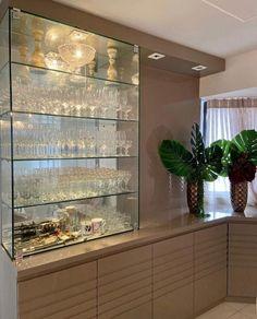 Home Room Design, Dining Room Design, House Design, Home Bar Decor, House Rooms, Living Room, Buffer, Glass Cabinets, Furniture
