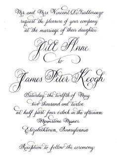 Wedding invitation in calligraphy