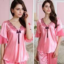 MASALING Women s Sexy Satin Pyjamas Smooth Silk Pajamas Set Girl Sleepwear  Suit in Clothing c965bf802