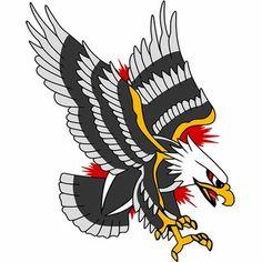 Traditional Tattoo Wall Art, Traditional Eagle Tattoo, Traditional Tattoo Black And White, Eagle Tattoos, Eagle Chest Tattoo, Wolf Tattoos, Tatto Old, Tatuaje Old School, Old School Tattoo Designs