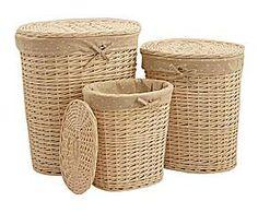 Set de 3 cestas de mimbre y tela Vanity