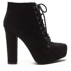 Easy Decision Faux Suede Chunky Booties BLACK ($35) ❤ liked on Polyvore featuring shoes, boots, ankle booties, ankle boots, black, black booties, lace up platform booties, black ankle boots and chunky heel bootie