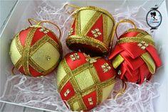 Новогодние наборы, шары на елку, игрушки канзаши, канзаши, новогодние елочные игрушки, фомина