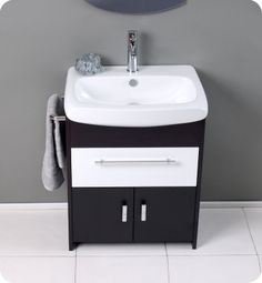 "View the Fresca FVN3021 Distinto 27"" Wood and Ceramic Vanity With Rectangular Mirror, Sink, Faucet and Installation Hardware at Build.com."