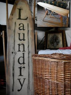 Laundry Sign by Gypsy Barn - I have one of those ironing board - I could do something with it - nice., I would write Ironing on the board not laundry. Painted Ironing Board, Antique Ironing Boards, Wood Ironing Boards, Primitive Laundry Rooms, Primitive Bathrooms, Laundry Signs, Vintage Laundry, Iron Board, Country Decor
