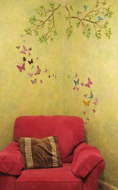 butterfly wall - I wonder if I could paint something like this Love Craft, Butterfly Wall, Ceiling Fixtures, Crafts To Do, Pattern Fashion, My Dream Home, Painted Furniture, Teaching Ideas, Paint Colors