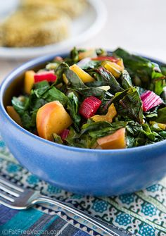 Eat healthily but not miserably by munching on this recipe for Swiss Chard with Crisp Apples.