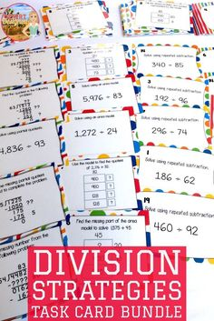 Division strategy task cards. Practice area models, partial quotients, and repeated subtraction while dividing. Perfect for fifth grade common core math.