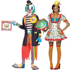 Evil Clown and Clown (Female) Couples Costume Image Scary Couples Costumes, Evil Clowns, Fright Night, Head To Toe, Ruffle Dress, Thigh Highs, Costume Ideas, Harajuku, Thighs