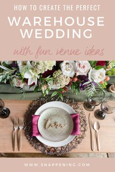 Warehouse venues can provide brides with a blank slate to add their personality and timeless style. Learn more about personalizing your warehouse venue. Wedding Name, Wedding Shoot, Our Wedding, Event Venues, Wedding Venues, Warehouse Wedding, Place Settings, Wedding Designs, Plates