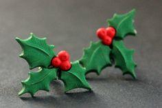 New to StumblingOnSainthood on Etsy: Christmas Holly Earrings. Holiday Earrings. Christmas Earrings. Post Earrings. Stud Earrings. Handmade Jewelry. (8.00 USD)