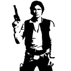 Star Wars Han Solo Die Cut Vinyl Decal for Windows, Vehicle Windows, Vehicle Body Surfaces or just about any surface that is smooth and clean Star Wars Silhouette, Silhouette Images, Star Wars Stencil, Stencil Art, Stenciling, Skull Stencil, Anniversaire Star Wars, Star Wars Quotes, Star Wars