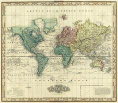 Henry S. Tanner - World on Mercators Projection, 1823 - Fine Art Print