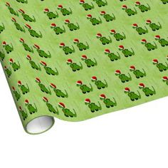 Green Dinosaur in a Santa Hat for Christmas Wrapping Paper