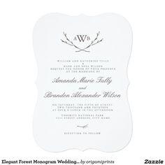 "Elegant Forest Monogram Wedding Invites 5"" X 7"" Invitation Card"