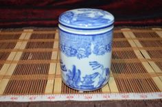 "Asian Porcelain Blue Willow Decorative Jar Vase 4 1/8""x3"""
