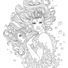 Line Artsy - Free adult coloring page - Sea Monster (uncolored) Monster Coloring Pages, Fairy Coloring Pages, Printable Adult Coloring Pages, Animal Coloring Pages, Free Coloring Pages, Coloring Books, Kids Coloring, Mermaid Coloring Book, Fish Coloring Page