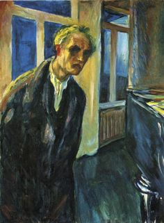 'Self Portrait between Clock and Bed'  Edvard Munch.