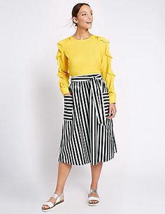 Pure Cotton Striped Tie Waist Midi Skirt