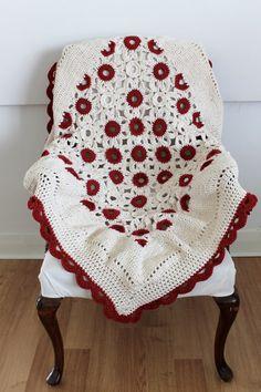 Handmade Crochet Lap Blanket Red and Cream, inspiration.