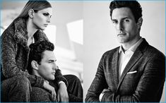 Model Noah Mills suits up for Pedro del Hierro's fall-winter 2016 campaign.