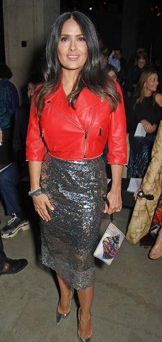 Salma Hayek in Christopher Kane attends London Fashion Week. #bestdressed