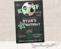 Chalkboard Soccer Birthday Invitation - Soccer Birthday Party - Soccer Party Ideas