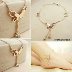 I really love this butterfly anklet. Simple Jewelry, Cute Jewelry, Gold Jewelry, Jewelry Accessories, Jewelry Design, Heart Jewelry, Anklet Bracelet, Anklets, Bracelets