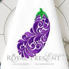 Eggplant Free Machine embroidery design - 3 sizes