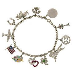 1920s Tiffany & Co. Art Deco Gems and Platinum Charm Bracelet